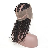Cabelo Humano Cabelo Brasileiro Cabelo Humano Ondulado Ondas Médias Frontal 360° Extensões de cabelo 4 Peças Preto