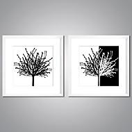 Kehystetyt pingoitetut kanvasprintit Abstrakti Kukkakuvio/Kasvitiede Moderni,2 paneeli Kanvas Painettu Wall Decor For Kodinsisustus