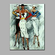 Pintados à mão Abstrato Pessoas Vertical,Moderno 1 Painel Tela Pintura a Óleo For Decoração para casa