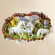 Zvířata Komiks 3D Samolepky na zeď Samolepky na stěnu 3D samolepky na zeď Ozdobné samolepky na zeď,Vinyl Materiál Home dekoraceLepicí