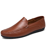 Men's Shoes Leather Spring Summer Light Soles Loafers & Slip-Ons For Casual White Black Yellow Brown