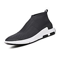 Heren Sneakers Lente Zomer Herfst Winter Comfortabel Lichtzolen Tule Buiten Casual Sport Wandelen Platte hak Geruit Zwart Grijs Rood