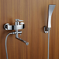 cheap Bathtub Faucets-Contemporary Art Deco/Retro Modern Tub And Shower Rain Shower Handshower Included Pullout Spray Ceramic Valve Two Holes Single Handle Two