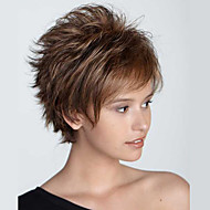 女性 人間の毛のキャップレスウィッグ ジェットブラック オーバーン ストロベリーブロンド/ブリーチブロンド ショート丈 ウェーブ レイヤード・ヘアカット バング付き
