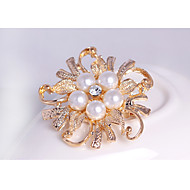 hesapli -Kadın's Genç Kız Broşlar Çiçek İnci Kristal alaşım Altın Beyaz Mücevher Uyumluluk Düğün Parti Özel Anlar Günlük