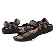 baratos Sapatos Masculinos-Homens Couro Ecológico Primavera / Verão Conforto Sandálias Preto / Vermelho / Castanho Claro / Preto / Amarelo