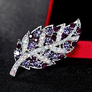 hesapli -Kadın's Broşlar Euramerican Moda Yapay Elmas alaşım Leaf Shape Gümüş Mor Mücevher Uyumluluk Düğün Parti Özel Anlar Günlük