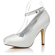 cheap Women's Heels-Women's Shoes Silk Winter Fall Comfort Club Shoes Dyeable Shoes Heels Stiletto Heel Round Toe Closed Toe Buckle for Wedding Outdoor