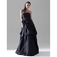 A-linje Prinsesse Stropløs Gulvlang Taft Brudepigekjole med Sløjfe(r) Pick Up-kjole Bælte / bånd ved LAN TING BRIDE®