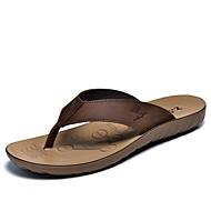 Men's Slippers & Flip-Flops Spring Summer Fall Comfort Cowhide Outdoor Office & Career Dress Casual Light Brown Water Shoes