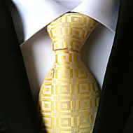 cheap Men's Accessories-Men's Polyester Necktie,Work Casual Houndstooth All Seasons Gold