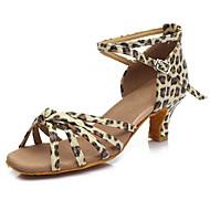 baratos Sapatilhas de Dança-Mulheres Sapatos de Dança Latina Courino Sandália / Salto Presilha Salto Cubano Personalizável Sapatos de Dança Leopardo / Castanho