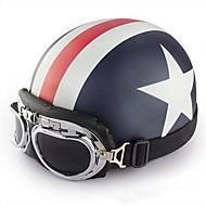 halv ansigt motorcykel hjelm med kaptajn amerika mønster fleksible abs gade motorcykel hjelm