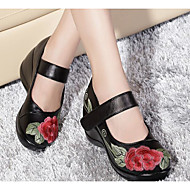 Women's Shoes Leather PU Spring Comfort Flats For Casual Black Red