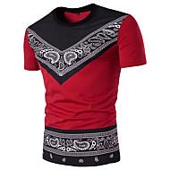 Homens Camiseta - Esportes Moda de Rua Geométrica Estampado Cashemere Algodão Decote Redondo Delgado Preto e Vermelho