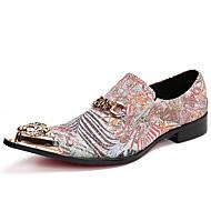 tanie Small Size Shoes-Męskie Buty Nappa Leather Wiosna Jesień formalne Buty Oksfordki na Casual Biuro i kariera Na wolnym powietrzu Impreza / bankiet Gold