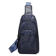 Man Tassen Alle seizoenen PU Canvas Sling Shoulder Bag voor Causaal Sport blauw