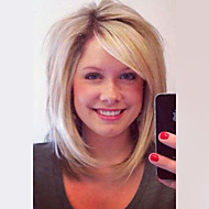 Vrouw Human Hair Capless Pruiken Medium Auburn / Bleach Blonde Beige Blonde // Bleach Blonde Kort Recht Bobkapsel Met pony Donkere