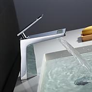 halpa -Nykyaikainen Integroitu Vesiputous Keraaminen venttiili Yksi reikä Yksi kahva yksi reikä Kromi , Kylpyhuone Sink hana