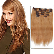 7 Pcs/Set Color 27 Strawberry Blonde Dirty Blonde Clip In Hair Extensions 14Inch 18Inch 100% Human Hair