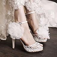 tanie Small Size Shoes-Damskie PU Wiosna Wygoda Sandały Biały