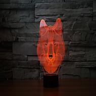 o novo 2017 lobos 3 d lâmpada 7 táctil a cores recarregável levaram luzes de toque visual leve projeção lâmpada