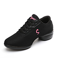 "Women's Dance Sneakers Fabric Sneaker Practice Chunky Heel White Black Red 2"" - 2 3/4"" Non Customizable"
