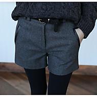 Feminino Simples Cintura Média Micro-Elástica Shorts Calças,Delgado Cor Única