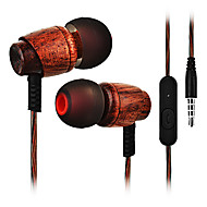 Cwxuan I øret Ledning Hovedtelefoner Træ Mobiltelefon øretelefon Med Mikrofon Headset