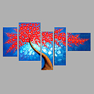Hand-Painted People Horizontal,Modern Five Panels Canvas Oil Painting For Home Decoration