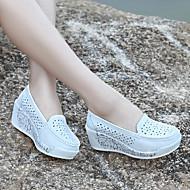 Damă Pantofi PU Vară Pantof cu Berete Sandale Toc Gros Pentru Casual Alb Galben Albastru Deschis