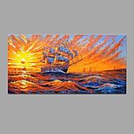 Pintados à mão Paisagem Horizontal,Pastoril Estilo Europeu 1 Painel Tela Pintura a Óleo For Decoração para casa