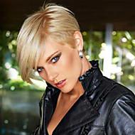 女性 人間の毛のキャップレスウィッグ ジェットブラック ミディアムオーバーン ベージュブロンド//ブリーチブロンド ショート丈 ストレート バング付き サイドパート