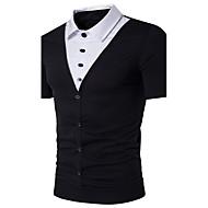 メンズ カジュアル/普段着 ビーチ 夏 Polo,シンプル 活発的 シャツカラー カラーブロック コットン 半袖 ミディアム
