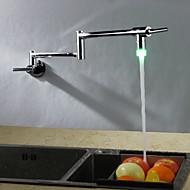 Kortárs Art Deco / Retro Modern normál csőr Magas / Magas Arc pot Filler Fali Forgatható Termosztatikus LED Réz szelep Egy fogantyú egy