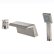 cheap Bathtub Faucets-Art Deco/Retro Modern Tub And Shower Waterfall Ceramic Valve Two Handles Three Holes Nickel Brushed, Bathtub Faucet