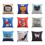 cheap Cushion Sets-9 pcs High Quality Linen Pillow Case Body Pillow Travel Pillow Sofa Cushion Novelty PillowAnimal Print Holiday Graphic Prints Quotes & Sayings