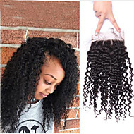 Indian Kinky Curly Lace Closure Remy Hair 4*4 French Lace 10-18 Inch Free/Middle/Three Part Natural Color Human Hair