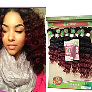 צמות מתולתלות צמות שיער מסולסל צמות הסרוגה עם שיער האדם שחור שחור / בורגונדי שיער קלוע תוספות שיער