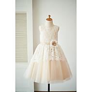 a-line knælængde blomst pige kjole - blonder tulle ærmerøs scoop hals med blomst ved thstylee