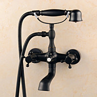 cheap Shower Faucets-Antique Centerset Handshower Included Ceramic Valve Three Holes Single Handle Two Holes Oil-rubbed Bronze, Bathtub Faucet