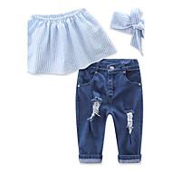 女の子 日常 ビーチ 祝日 ソリッド コットン ポリエステル アンサンブル 夏 ノースリーブ ドレスウェア ブルー