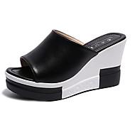 baratos Sapatos Femininos-Mulheres Sapatos Couro Ecológico Verão Creepers / Conforto Saltos Salto Plataforma Dedo Aberto Presilha Branco / Preto