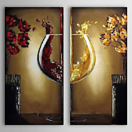 Handgeschilderde Voedsel Vierkant,Europese Stijl Modern Twee panelen Canvas Hang-geschilderd olieverfschilderij For Huisdecoratie