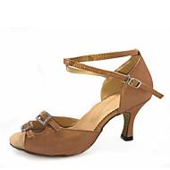 baratos Sapatilhas de Dança-Mulheres Sapatos de Dança Latina Cetim Salto Cristal / Strass Salto Personalizado Personalizável Sapatos de Dança Preto / Marron / Camel / Espetáculo / Couro