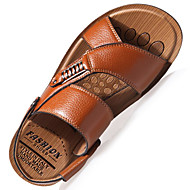 Men's Sandals Spring Summer Light Soles Comfort Leather Outdoor Office & Career Casual Flat Heel Rivet Buckle Black Brown Khaki Walking