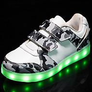 billige -60%-Gutt-PU-Flat hæl-Komfort Original Light Up Sko-Treningssko-Friluft Fritid Sport-Hvit Svart Grå