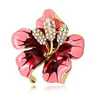 hesapli -Kadın's Broşlar Çiçek Çiçek Stili Çiçekler Kristal alaşım Çiçek Mor Fuşya Gül Pembesi Kırmzı Siyah Mücevher Uyumluluk Düğün Parti Özel