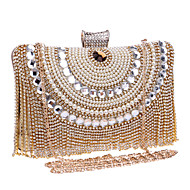 נשים שקיות כל העונות פוליאסטר תיק ערב קריסטל / ריינסטון ל חתונה מסיבה רשמי פול זהב שחור כסף אודם