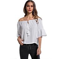 Kortærmet Skulderfri Damer Ensfarvet Stribet Simpel Afslappet/Hverdag Skjorte,Polyester